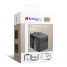 Verbatim 4 Port USB+1 Type C Universal Travel Charger 5.6A