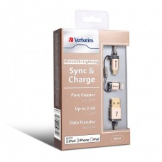 Verbatim Sync & Charge 2 in 1 Micro USB and Lightning Cable
